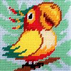 Набор для вышивания с пряжей BAMBINI  X2024 «Попугай» 15*15 см