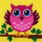 Набор для вышивания с пряжей BAMBINI  X2028 «Совенок» 15*15 см
