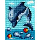 Набор для вышивания с пряжей BAMBINI  X2229 «Дельфин играет в воде» 15*20 см