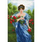 Рисунок на канве Гелиос А-018 «Дама с розами» 43,5*67,5 см