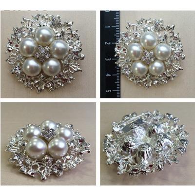 Брошь BR 618 «Жемчуг» серебро/белый в интернет-магазине Швейпрофи.рф