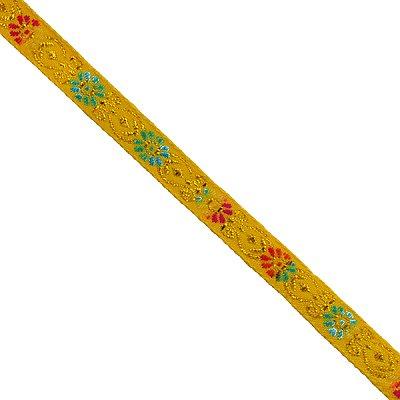Тесьма 10 мм жаккард с люрексом желт. в интернет-магазине Швейпрофи.рф