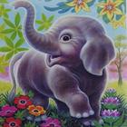 Алмазная мозаика DIY (с рамкой) K20197 «Слоненок в цветах»