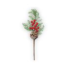Декор. для флорист. VDF-15 веточка с шишками и ягодками 32см