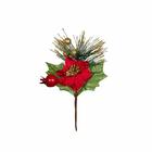 Декор VDF-75 букетик «Новогодний с пусасетией» 18 см
