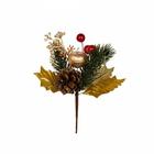 Декор VDF-76 букетик «Новогодний с золотым яблоком» 15 см