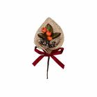 Декор VDF-79 букетик «Новогодний с рогожкой» 15 см оранж