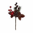 Декор VDF-85 букетик «Новогодний с красным яблоком» 18 см