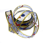 Лента упаковочная органза 25 мм рул. 3 м № 3 колокол/синий/золото