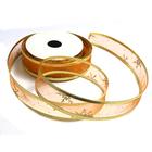 Лента упаковочная органза 25 мм рул. 3 м №11 оранж/золото