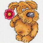Набор для вышивания Кларт 8-224 «Песик с цветочком» 10*11 см