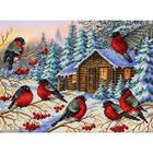 Набор для вышивания бисером Паутинка Б-1437 «Снегири» 28*38 см