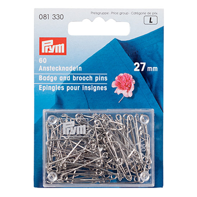 Булавки англ. Prym 081330 27мм  (железо) (уп 60 шт) серебро в интернет-магазине Швейпрофи.рф