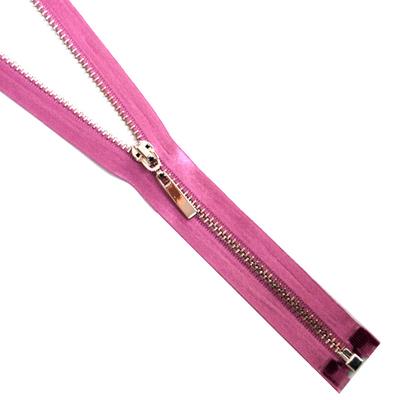 Молния TIT Т4 мет. 70 см атлас никель/гр. розовый в интернет-магазине Швейпрофи.рф