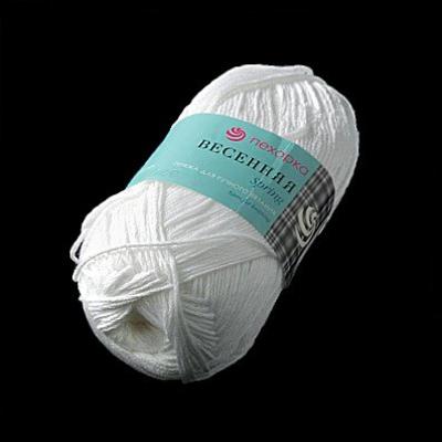 Пряжа Весенняя, 100 г / 250 м, 001 белый в интернет-магазине Швейпрофи.рф