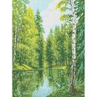 Рисунок для вышивания бисером Каролинка КБП-3023 «Озеро в лесу» 27*36 см