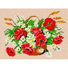Рисунок для вышивания бисером Каролинка КБЦ-4013 «Маки с ромашками» А4