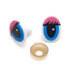 Глаза винтовые «овал» с ресницами 16*22 мм, розовый/синий