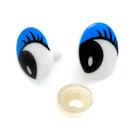 Глаза винтовые «овал» с ресницами 16*22 мм, синий