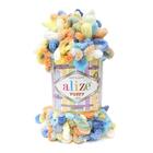 Пряжа Пуффи Колор (Puffy Color), 100 г / 9.2 м  5866 голубой/жёлтый/персиковый