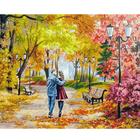 Набор для раскрашивания Белоснежка AB142 «Осенний парк,скамейка,двое»