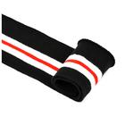 Подвяз трикотажный п/эTBY73010 черный с белыми и красной полосами 14*100 см