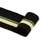Подвяз трикотажный п/эTBY73024 черный с зеленой,серебряной и золотыми  полосами 6*80см