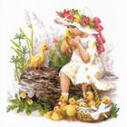 Набор для вышивания Риолис №1781 «Девочка с утятами» 30*30 см