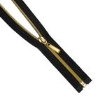 Молния Т7 декор. спираль 1-бег. 70 см 264310 золото/черн.