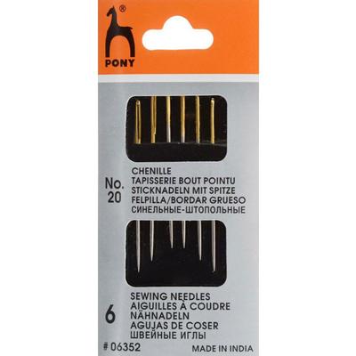Иглы ручные PONY 06352 для штопки  и синели №20 (наб. 6 шт) 161293 в интернет-магазине Швейпрофи.рф
