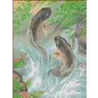 Рисунок для вышивания бисером Каролинка КБЖ-3021 «Карпы» 27*35 см