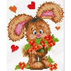Рисунок для вышивания бисером Каролинка КБЖ-5013 «Зайчонок с цветами» 13*16 см