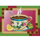 Рисунок для вышивания бисером Каролинка КБЛ-4017 «Чашка чая» 19*25 см