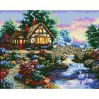 Рисунок на габардине А4+ БИС 331 «Лебеди у дома» 27*35 см