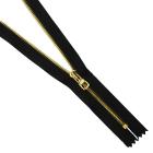 Молния TIT Т3 мет. 18 см (1 замок) шлифованный золото/чёрный