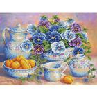 Рисунок для вышивания бисером Каролинка КБЦ-3029 «Голубой букет» 26,5*35,7см
