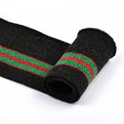 Подвяз трикотажный п/эTBY73025 черный с зелеными и красными  полосами 6*80см