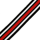 Тесьма 25 мм трикотажная лампасная  138-09 чёрный/белый/красный  уп.10 м