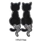 Термоаппликация «Коты» 3783608 пайетки черный 14,5*21,5 см