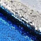 Ткань 33*33 см декоративная 3891591 «Голубой-серебряный» пайетки