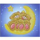 Рисунок на ткани «Славяночка КС-4005  Мишки на луне» 20*25 см