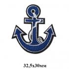 Термоаппликация ГС948 «Якорь» уп.2 шт. серебро/синий
