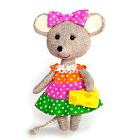 Набор для шитья Кукла Перловка из ткани ПЛДК-1457 «Мышка-норушка» 17 см лён  хлопок 16,5 см