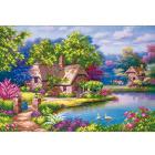 Рисунок для вышивания бисером Магия канвы КС-073 «Домик в цветах» 27*38 см