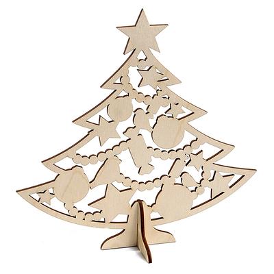 Заготовка для декора «Ёлка с новогодними игрушками» дерев. в интернет-магазине Швейпрофи.рф