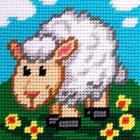 Набор для вышивания с пряжей BAMBINI  X2016 «Овечка» 15*15 см