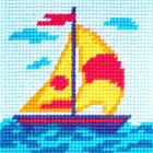Набор для вышивания с пряжей BAMBINI  X2033 «Кораблик» 15*15 см