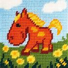 Набор для вышивания с пряжей BAMBINI  X2035 «Лошадка» 15*15 см