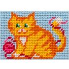 Набор для вышивания с пряжей BAMBINI  X2110 «Рыжик кот с клубком» 10*14 см