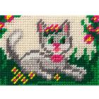 Набор для вышивания с пряжей BAMBINI  X2129 «Кошка среди цветов» 10*14 см